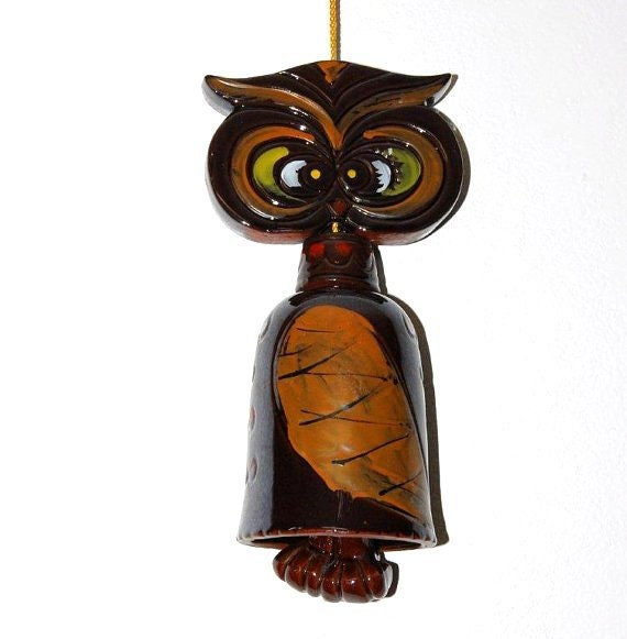 vintage owl chime - owl bell - wallhanging - garden decor