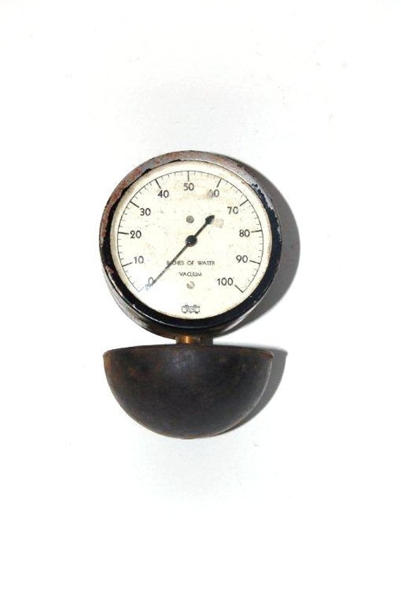 RESERVED FOR CHERI - industrial gauge - black metal gauge - vacuum gauge - water pressure meter