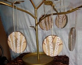 Wooden Birch Tree Ornaments Set of 3