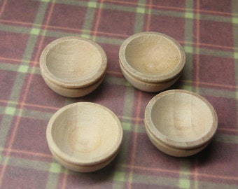 8 pcs dollhouse miniature unfinished wood bowls one inch scale 1:12 - Supplies