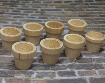 Dollhouse Miniature wood plant pots set of 8 pcs unfinished Supplies DIY