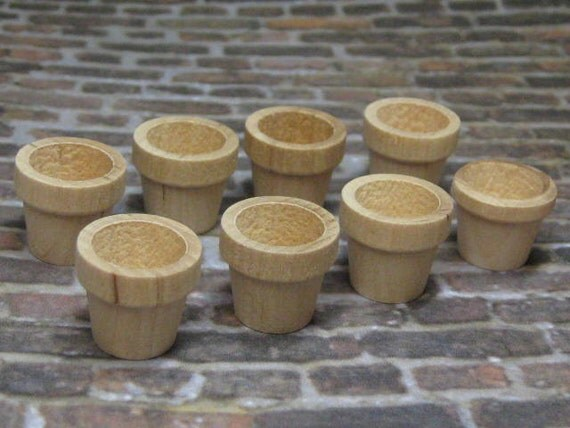 Dollhouse Miniature wood plant pots set of 8 pcs unfinished Supplies DIY