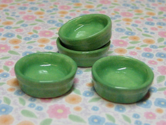 1:12 scale one inch miniature ceramic bowls in glade green 4pcs dollhouse miniature 19mm B