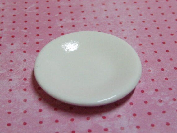 34mm shallow dollhouse miniature bowl white ceramic for use in 1:12 scale and playscale dish plate