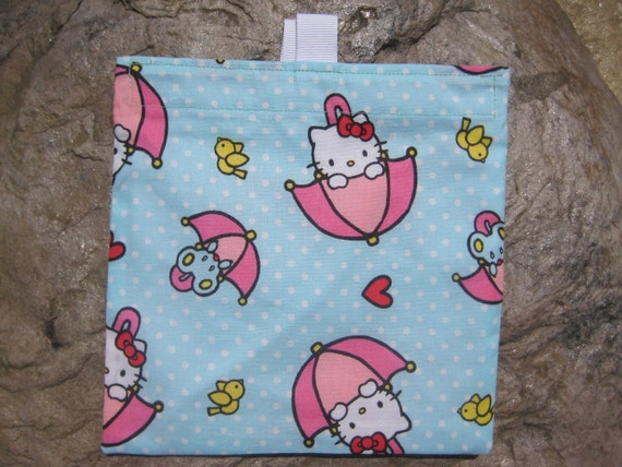 Hello Kitty Umbrella-SET of 2 -Reusable Sandwich Bags or Snack Bags
