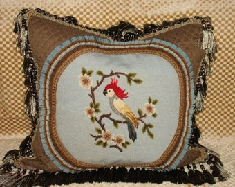 Vintage needlepoint pillow of bird one of a kind