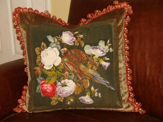 Victorian English antique pheasant needlepoint pillow