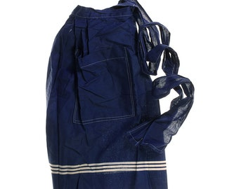Vintage Skirt Apron Royal Blue with White Stripes