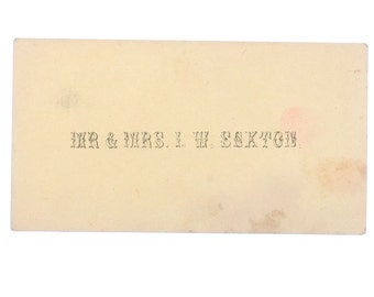 Antique Calling Card, Mr & Mrs I. W. Sexton - Amazing Typography