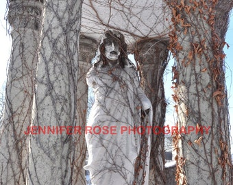 Haunted Cemetery Statue Photo Print