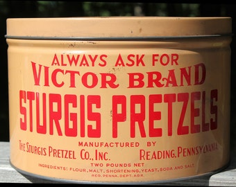 VICTOR BRAND PRETZELS Lithographed Collectible Advertising Tin