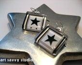 "Black Stars Glass Earrings -  Original Digital Illustration - ""Punk Stars"""