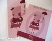 "Personalized bookplates/bookmark set - Original Digital Illustration -""Stella"" Set"
