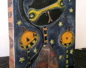 "OOAK Mixed Media Painting on Canvas - Halloween - 4"" x 5"" - ""Black Cats Trick or Treat Too"""