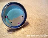 Geek Girl Glass Ring - Original Digital Illustration