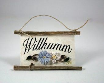 Quilled Magnet 96 - Willkumm - Pennsylvania Dutch Welcome, Blue and White Paper Flowers, Ornament