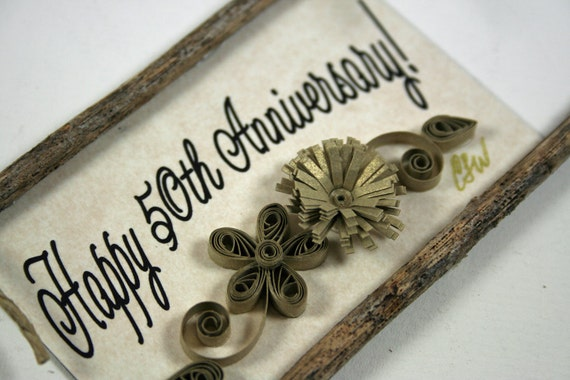 Quilled Magnet 130-  Happy 50th Anniversary- Golden Anniversary Gift, Ornament