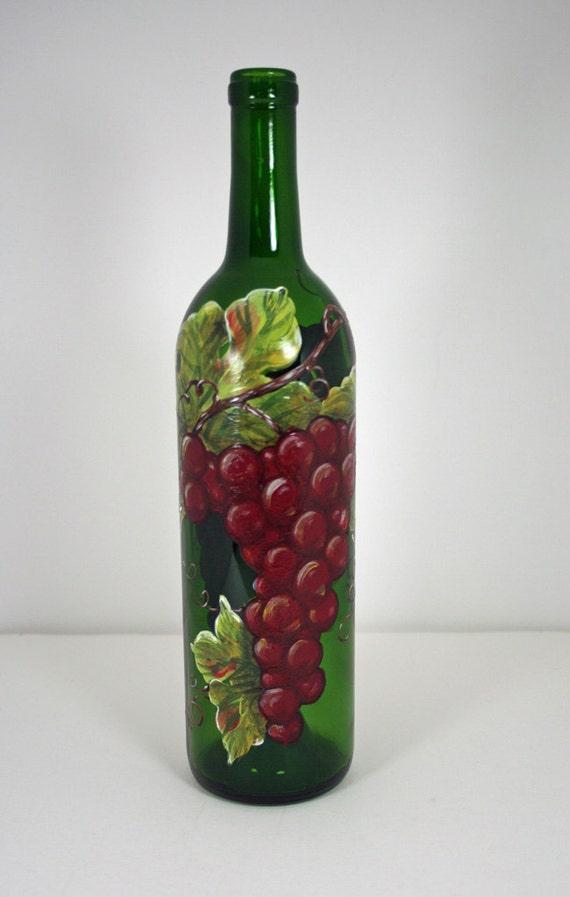 Hand painted grapes on wine bottle for Hand painted bottles