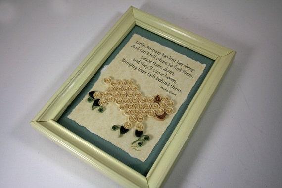 Framed Mother Goose Quilled Illustration - Little Bo Peep