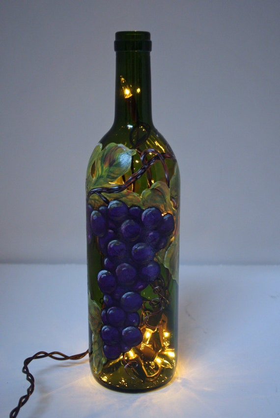 hand painted wine bottle light with grapes