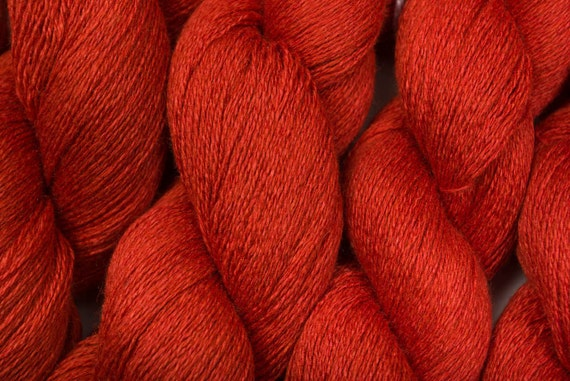 Silk Cashmere Recycled Yarn, Burnt Orange Lace Weight Silk Cashmere, 715 yards