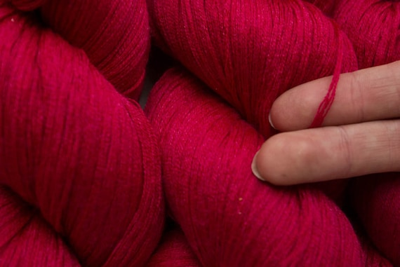 Red Red Rose Wool Silk Blend Fine Fingering Recycled Yarn, 476 yards