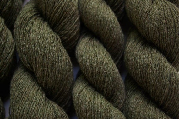 Recycled Yarn Forest Green silk cashmere lace weight, 466 yards