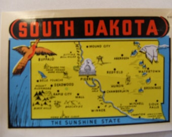 Rare South Dakota 'The Sunshine State' Vintage Travel Decal
