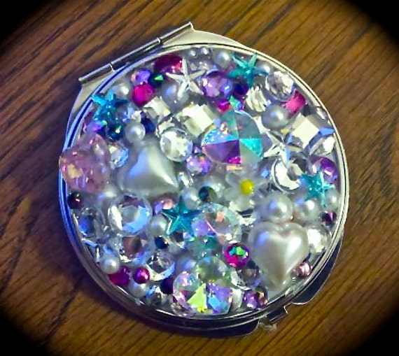 Bedazzled collage compact mirror