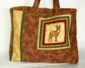 Large Tote Bag Deer Buck Padded Brown With Handles