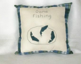 Flannel Pillow Gone Fishing Blue Plaid