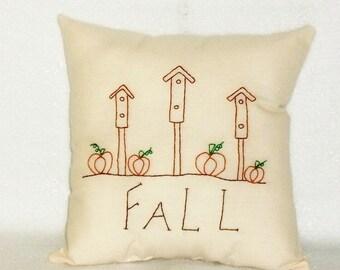 Fall Pillow, Pumpkin Pillow, Stitchery, Original Design, Birdhouses, Hand Embroidered, Cottage Chic, Decorative Pillow, Autumn Decor