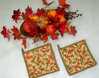 Quilted Pot Holders, Autumn Leaves, Kitchen Decor, Fall Decor, Autumn Potholders, Hot Pads, Coasters, Oak Leaves, Set of 2