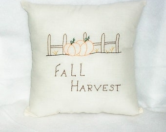 Fall Pillow, Pumpkin Pillow, Stitchery, Original Design, Hand Embroidered, Cushion, Fall Decor, Autumn Harvest, Cottage Chic, Picket Fence