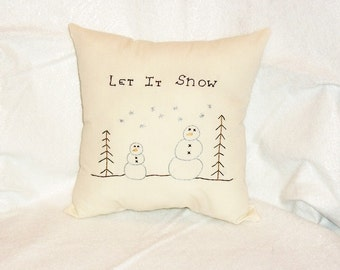 Snowmen Pillow, Stitchery Pillow, Cushion, Christmas Pillow, Winter Decor, Hand Embroidered, Holiday Decor, Cottage Chic, Original Design
