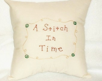 Primitive Stitchery Pillow, Folk Art, Original Design, Hand Embroidered, Cottage Chic, Country Pillow, Sewing, Primitive Decor, Cushion