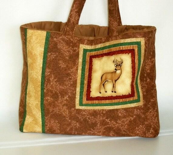 Large Tote Bag Deer Buck Padded Brown With Handles