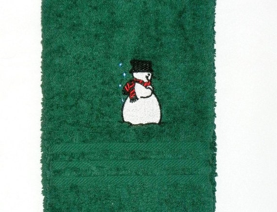 Snowman Hand Towel Machine Embroidered Christmas