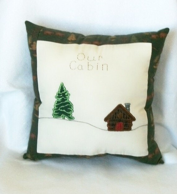 Pillow Flannel Lodge Cabin Rustic Machine Appliqued