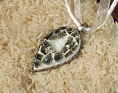 White Buddha in Glass mosaic leaf pendant