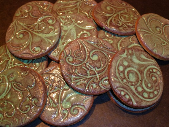 Tile Cookies Mosaic swirlies with Green glaze