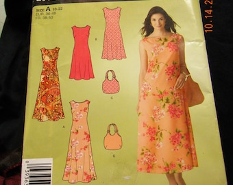 misses dress two lengths and bag pattern simplicity 2952
