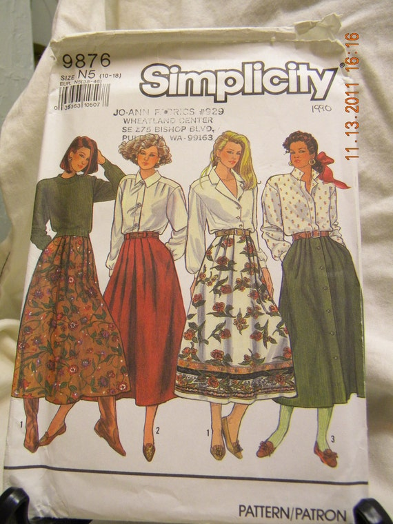 misses pleated skirt pattern simplicity 9876 un cut by