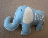 Plush baby gift - felt elephant (personalized with initials)
