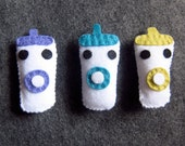 Baby shower gift - set of 3 cute felt bottle magnets (yellow, teal, purple)