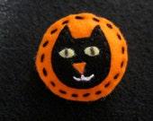 Cute Halloween orange felt black cat pin brooch