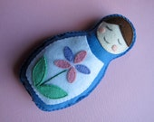 Felt Plush Matryoshka Doll - Blue with Purple and Pink Flower