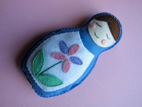 Felt Plush Matryoshka Doll - Blue with Purple and Pink Flower