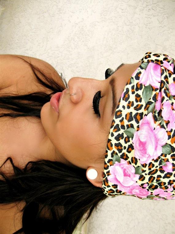 Floral Leopard Turban Headband- SALE