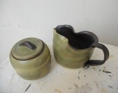Cream and Sugar Jar Set with lid. Ceramic, Tea green with black lining.